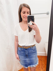 FREE PEOPLE: Bailey Denim Mini Skirt