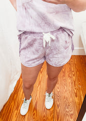 Tie Dye French Terry Short -Mauve