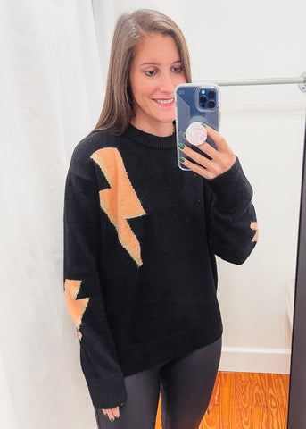 Lightening Bolt Sweater -Black