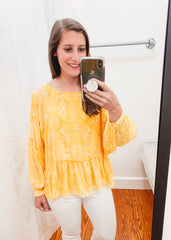 Felicity Top -Yellow Paisley