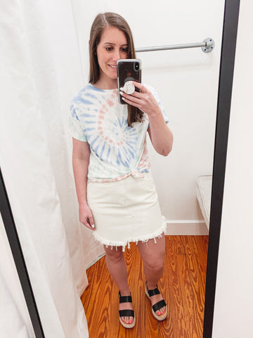 FREE PEOPLE: Bailey Denim Mini Skirt -White