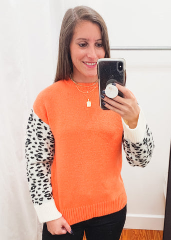 Leopard Sleeve Sweater -Orange