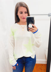 Star Sweater -Cream/Lime
