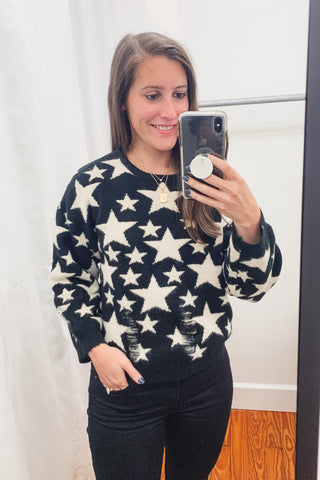 Distressed Star Sweater -Black