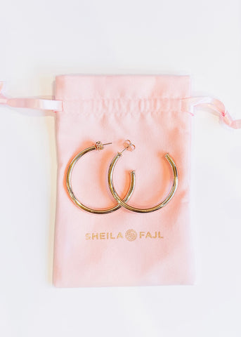 Sheila Fajl Smaller Favorite Hoops - Polished Champagne