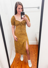 Cheetah Puff Sleeve Dress -Mustard