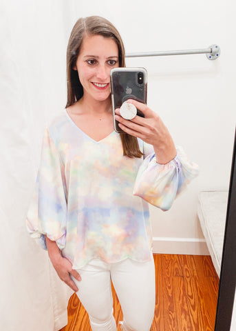 Balloon Sleeve Iridescent Top