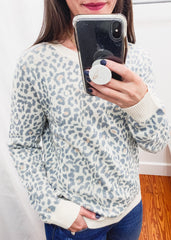 Leopard Sweater -Mineral Blue