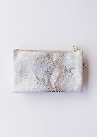 Crossbody Bag -Snake White Silver