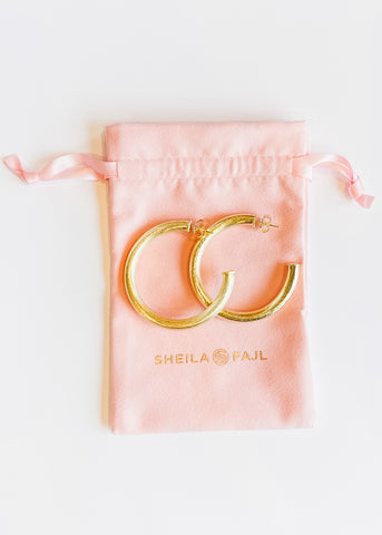 Sheila Fajl Small Arlene Hoops -Brushed Gold