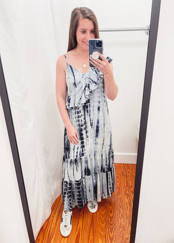Asymmetrical Tie Dye Maxi Dress