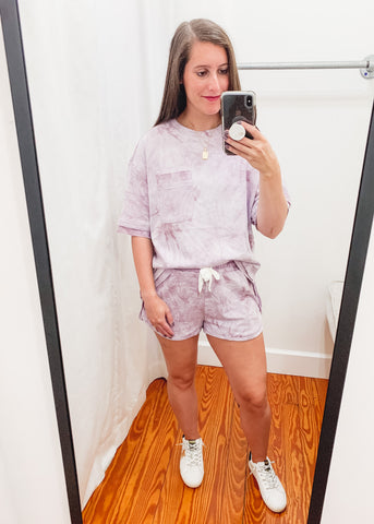 Tie Dye French Terry Top -Mauve