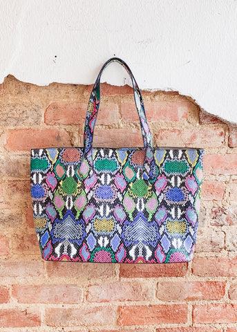 Cassie Shoulder Tote -Snake Multi Graffiti