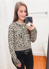 Sammy Sweater Top -Champagne Leopard