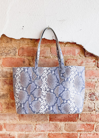 Cassie Shoulder Tote -Snake Denim