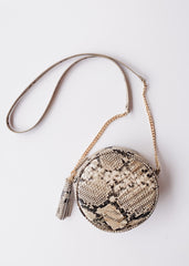 Harris Round Crossbody- Snake Gold Fleck