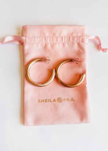 Sheila Fajl Chantal Hoops -Brushed Rose Gold