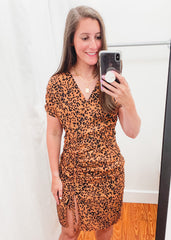 Leopard Scrunch Front Dress