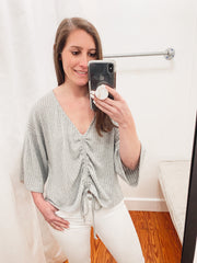 Scrunch Knit Top -Grey