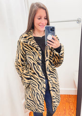 Faye Faux Fur Coat -Tiger