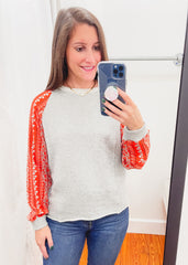 Flower Print Sleeve Top -Grey