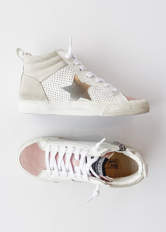 VINTAGE HAVANA: Jane High Top Sneaker -Blush/Silver