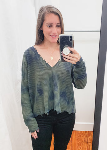 Distressed Tie Dye Sweater -Olive