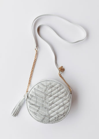 Harris Round Crossbody- Snake Metallic White