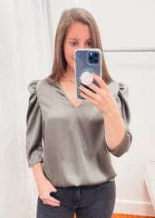 Puff Sleeve Silky Top -Olive