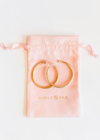 Sheila Fajl Smaller Favorite Hoops - Brushed Gold