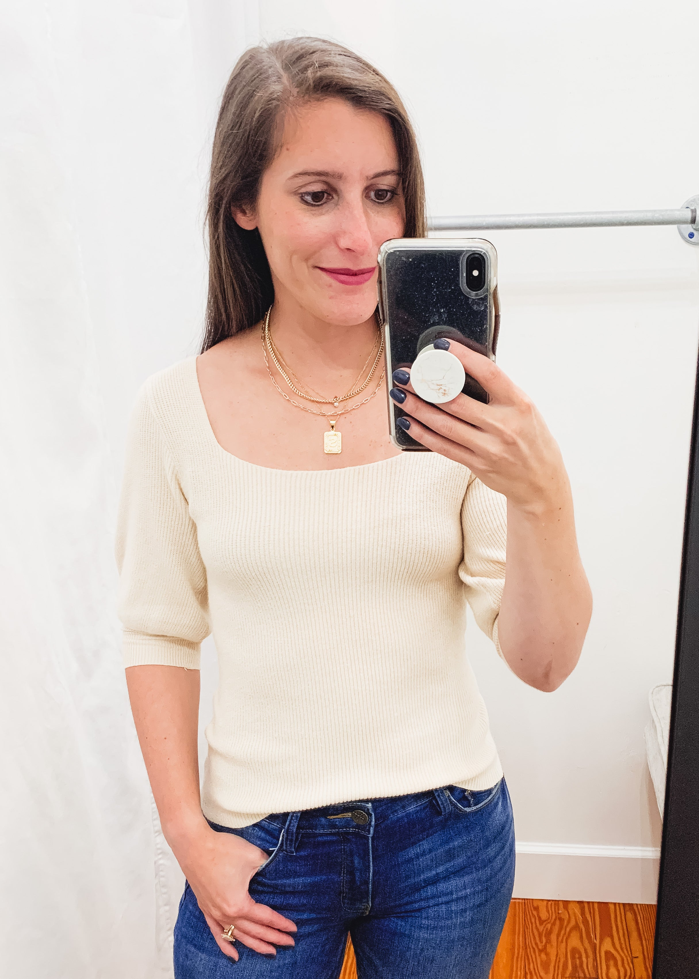 Square Neck Sweater Top