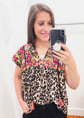 Leopard Print Embroidered Top