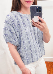 Fringe Short Sleeve Dolman Top -Blue