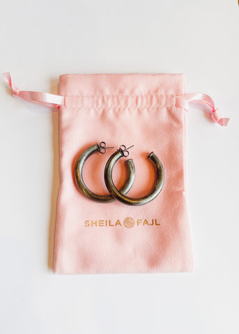 Sheila Fajl Chantal Hoops -Brushed Gunmetal