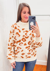 Leopard Turtleneck Sweater -Cream