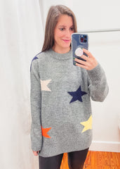 Multi Color Star Sweater -Grey
