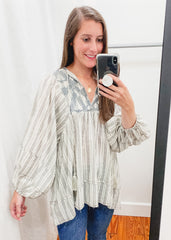 Embroidered Stripe Tunic Top -Grey