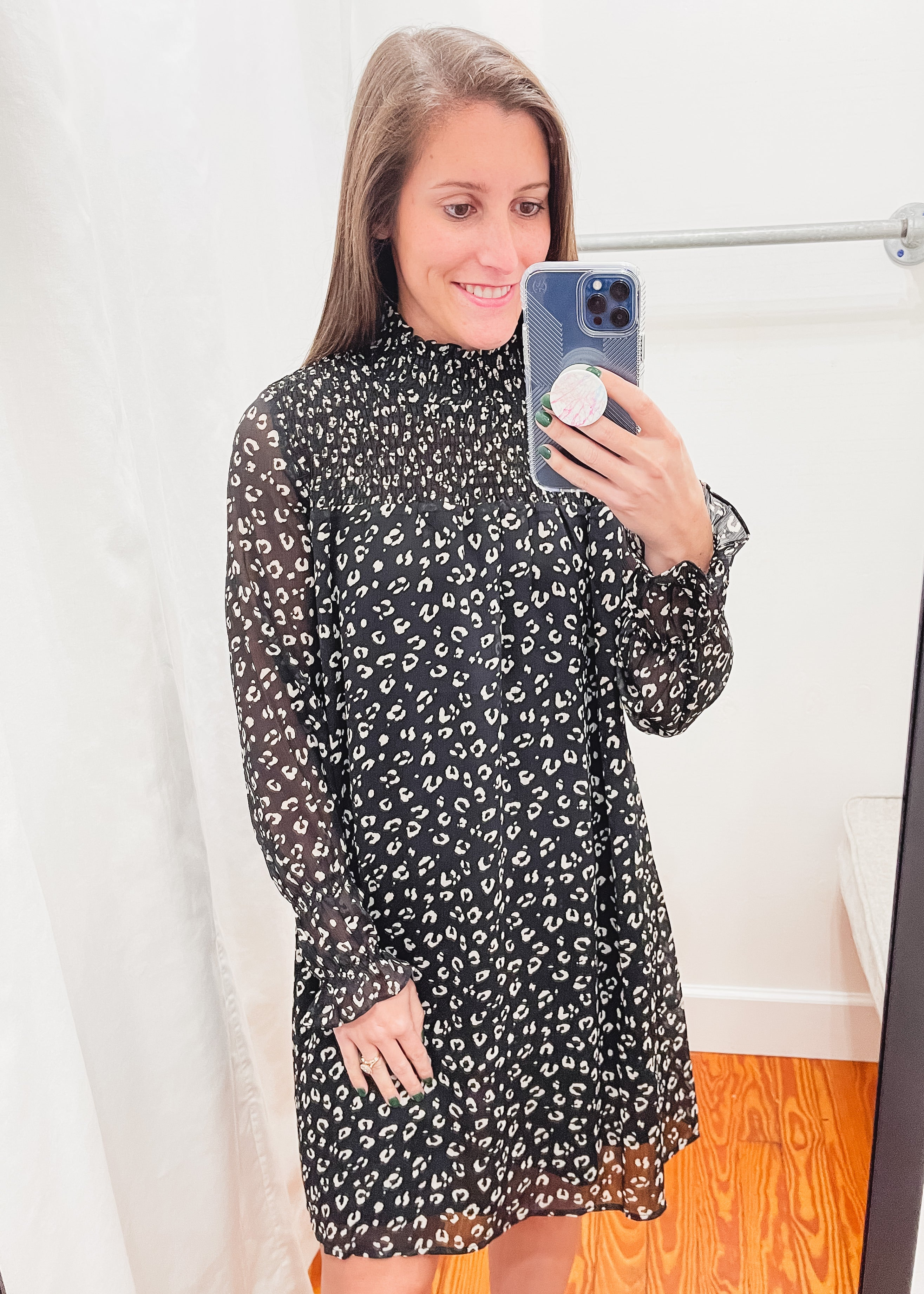 Leopard Print Smock Dress -Black