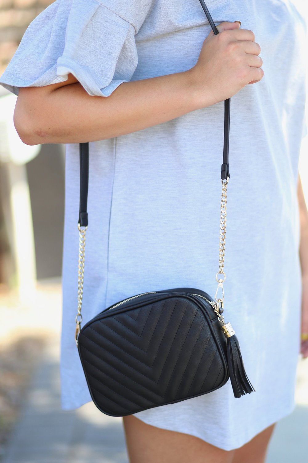 Olivia Quilted Crossbody -Black