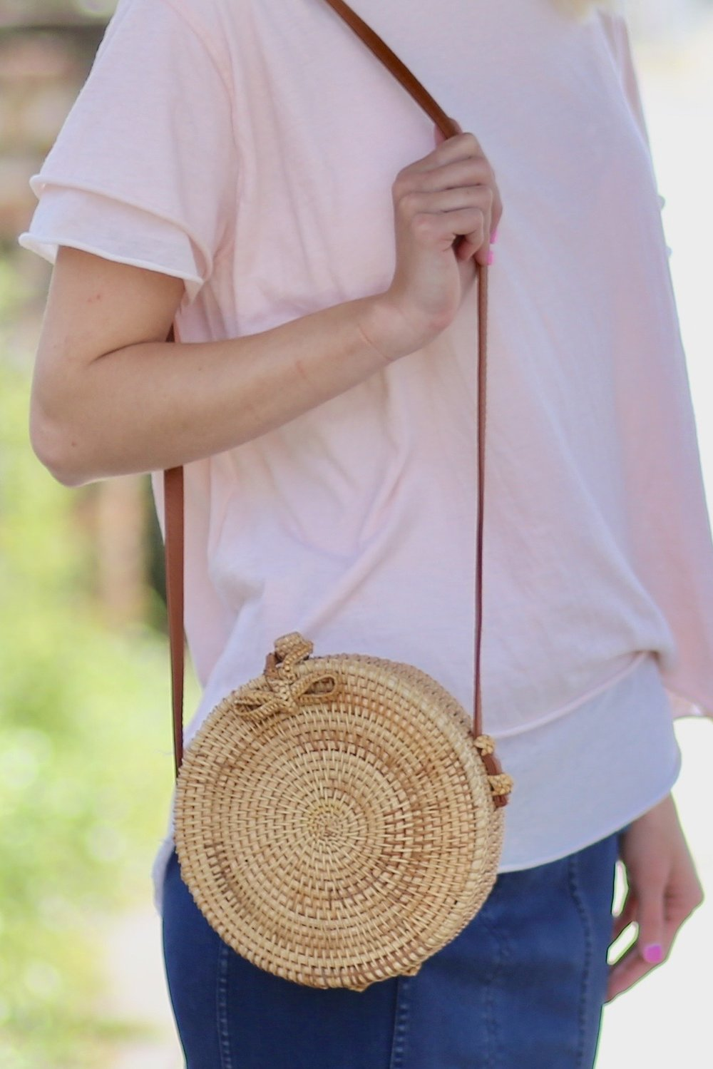 Maui Round Wicker Crossbody