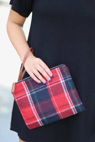 Waverly Plaid Clutch -Red