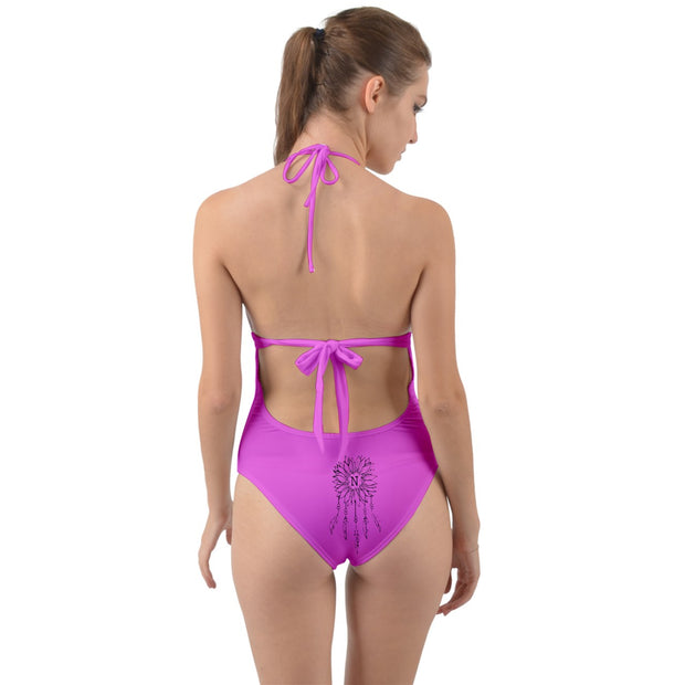 Narvie Barbie Halter Cut-Out One Piece Swimsuit