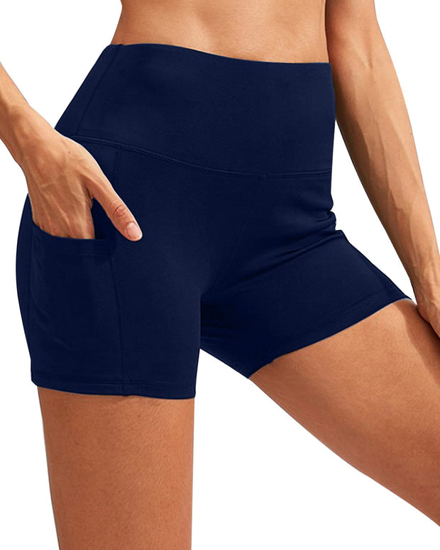 Calcao High Waist Yoga Shorts With Pocket - Navy