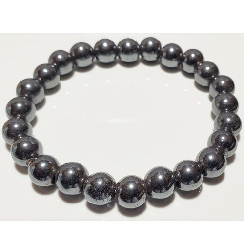 Hematite Beaded Elastic Stretch Bracelet (8mm)