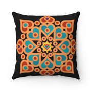 bronzeHIPPIE Mandala Polyester Square Pillow - Black