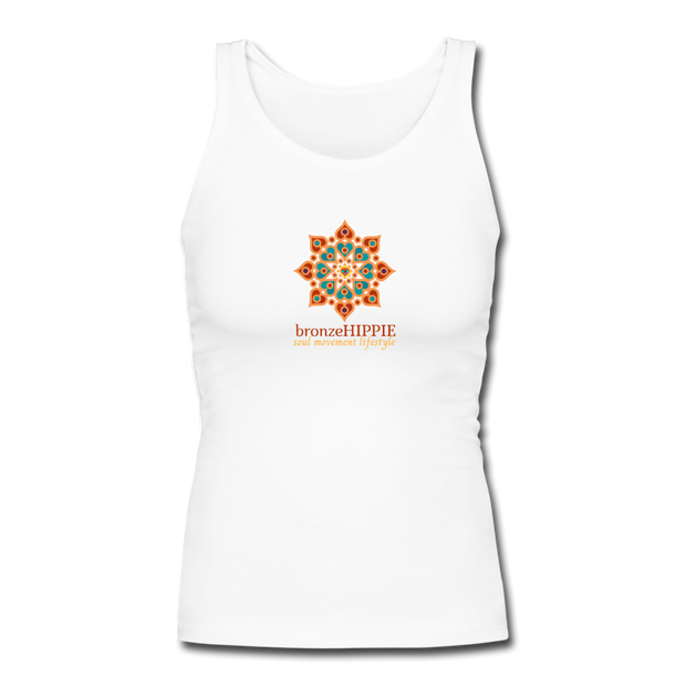 bronzeHIPPIE Logo Long Fitted Tank - white