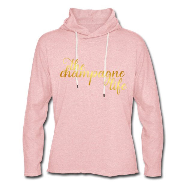 The Champagne Life Lightweight Hoodie - cream heather pink