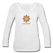 bronzeHIPPIE Logo Long Sleeve  V-Neck Flowy Tee - white
