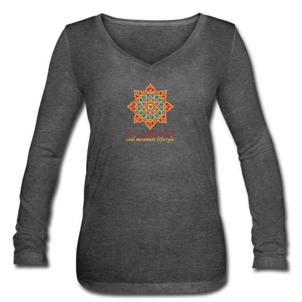 bronzeHIPPIE Logo Long Sleeve  V-Neck Flowy Tee - deep heather