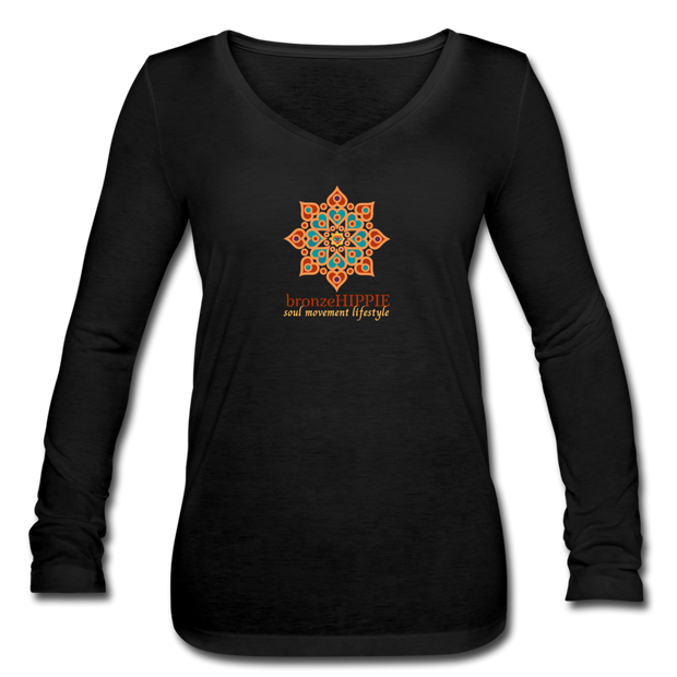 bronzeHIPPIE Logo Long Sleeve  V-Neck Flowy Tee - black